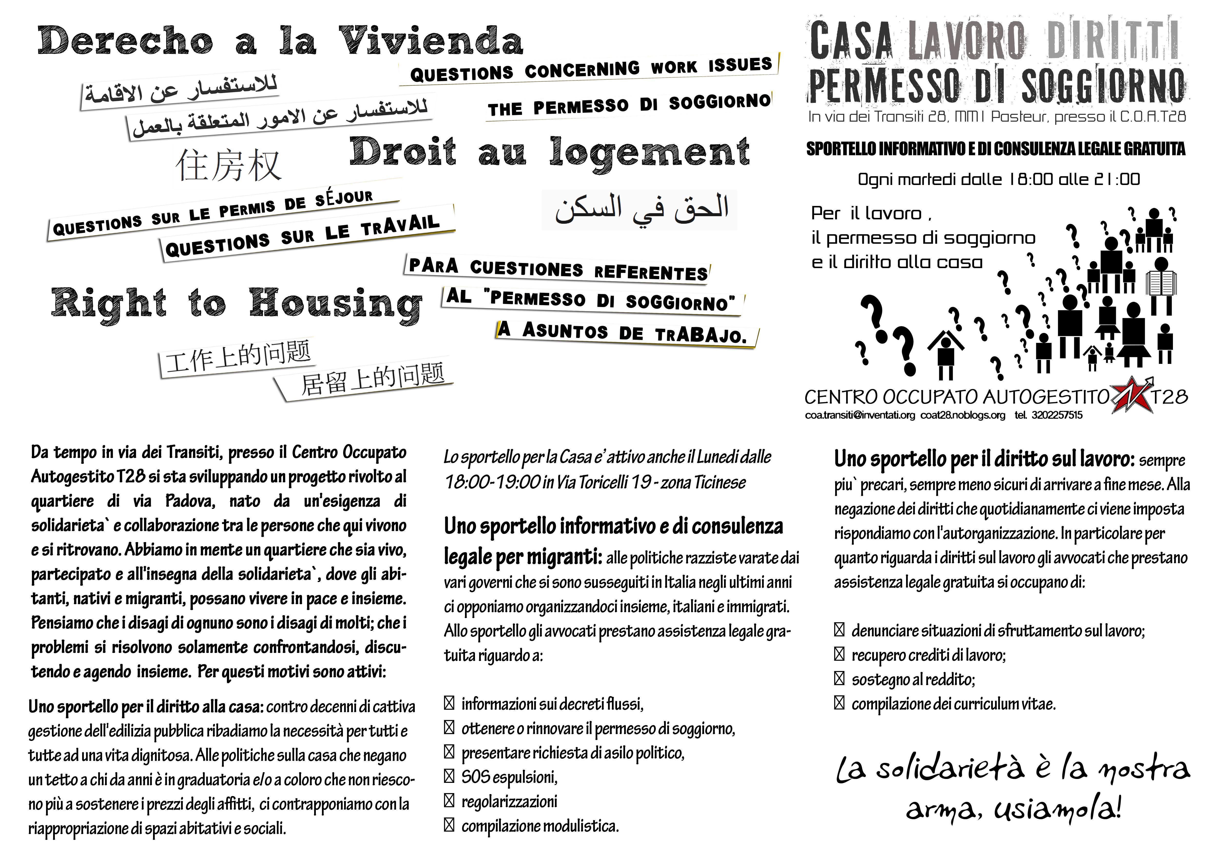 CASA LAVORO PERMESSO DI SOGGIORNO Sportello informativo e di ...